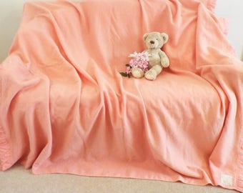 Vintage pure wool Witney blanket Vintage wool 1950s  blanket  Pink wool blanket 76 in x 90 in  bedding  Large Witney wool blanket