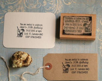 Party invitation Stamp, Personalised Rubber Stamp