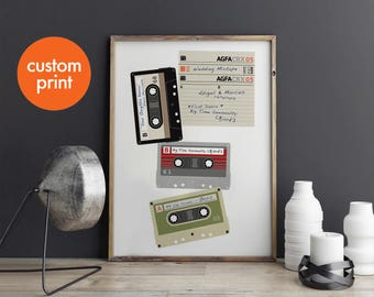 Personalised couple mixtapes print // wedding playlist // retro cassette // first dance // custom love songs // gift for him her birthday