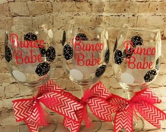 Bunco Babe Wine Glass - Bunco Queen - Dice - Card Games - Bunco Parties - Bunco game