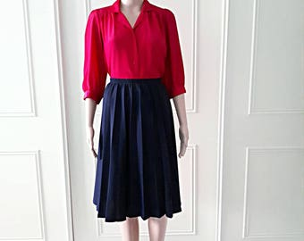 1980's pleated skirt vintage knee length skirt 80's blue skirt 1980's vintage skirt ladies vintage skirt size 16 (best fit a 10/12/14)