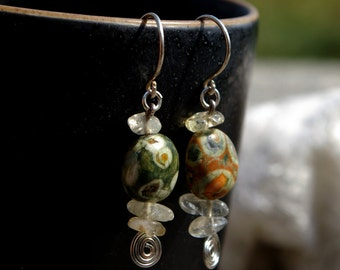 Ocean Jasper/Agate and Citrine Earrings