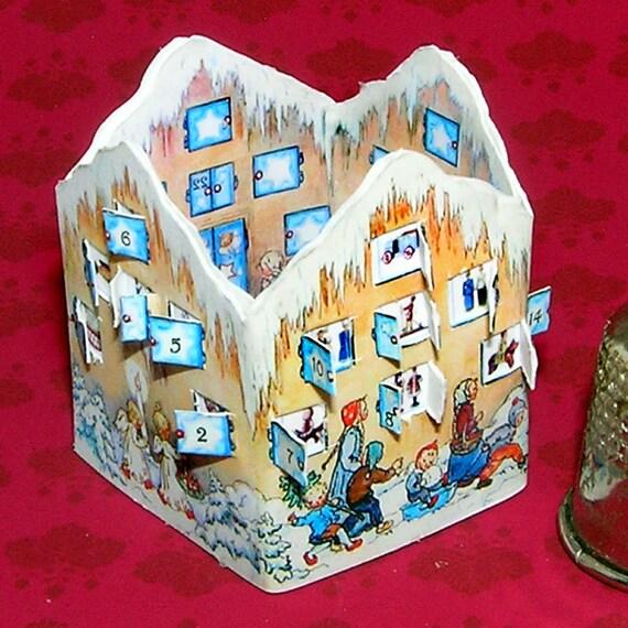 Advent Calendar, Bastelkit of paper in miniature for the Dollhouse, the doll house, Dollhouse Miniatures # 40029