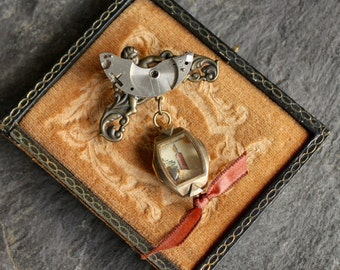 """Shadowbox """"Shine your light"""" Steampunk Watch Part Brooch  soulful, vintage, antique, assemblage pin collage recycled repurposed jewelry"""