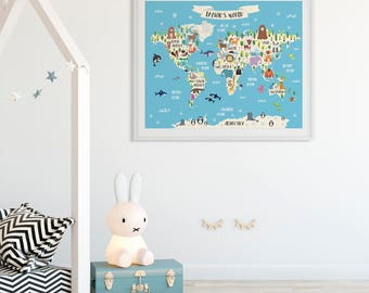Nursery map etsy animal world map print personalized baby gift kids world map poster custom map art animal nursery gumiabroncs Image collections