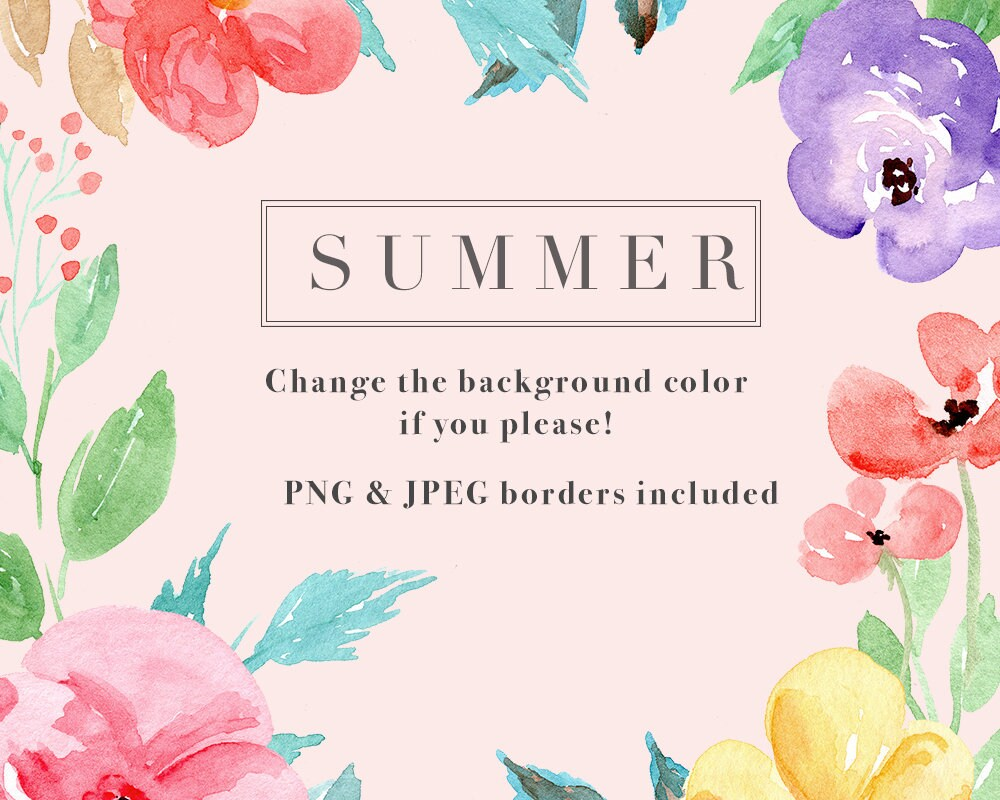 Tropical watercolor clipart watercolour flower borders floral this is a digital file kristyandbryce Image collections