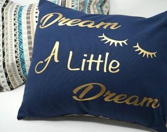 Blue with gold rose back canvas throw pillow 15x15 Dream A Little Deeam throw pillow