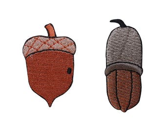 ID 1415AB Set of 2 Acorn Nut Patches Oak Tree Food Embroidered Iron On Applique
