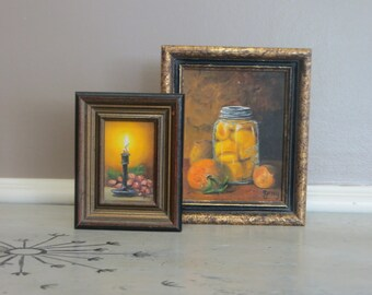 Miniature Oil Painting Wall Art Fruit Orange and Fal lColors Rustic Mason Jar Ginger Gray Fairfield Mt Miniature Art Fruit