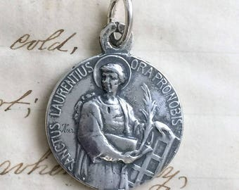 St Lawrence and St Michael Medal - Patron of cooks / Patron of Police - Antique Reproduction