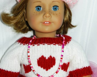 Doll Jewelry 18 inch American Doll Valentines Day Long Heart Necklace American Girl Heart Charm Red White Pink Doll Necklace