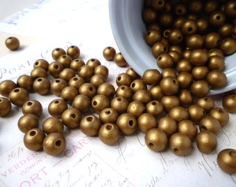 Round Wooden Beads - GOLD - 10mm - Pack of 20
