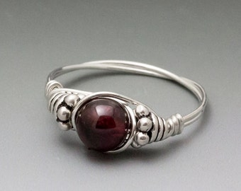 Pyrope Garnet Bali Sterling Silver Wire Wrapped Bead Ring - Made to Order, Ships Fast!
