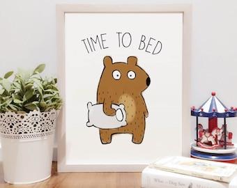 Time to Bed Bear Illustration | Digital Download Printable art | Instant Download Wall Art Digital Nursery Décor  | Brown Bear Download