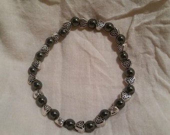 Celtic Trinity Knot / Triquetra Hearts & 6mm Hematite Beaded Bracelet FREE SHIPPING
