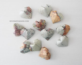 12+ texture world map balloon hearts || map theme wedding || origami heart favors || gifts for map lovers -the world