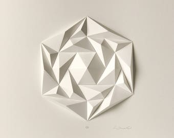 Triangle - Abstract Sculpture - White Wall Art - Folded Archival Paper Mosaic Relief - Modern Geometric - Created by Kubo Novak - Icosa3M4