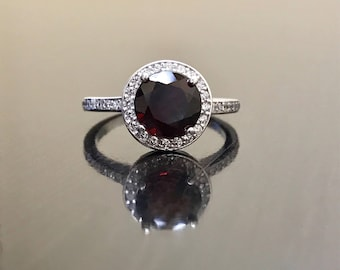 14K White Gold Halo Diamond Garnet Engagement Ring - 14K Gold Art Deco Diamond Garnet Wedding Ring - 14K Gold Halo Garnet Diamond Ring