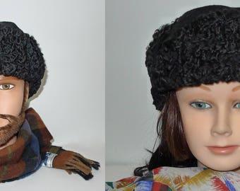 Warm  vintage  unisex black Persian lamb fur trooper style hat  with woolen top - Sz L XL