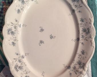 Vintage Blue Garland Johann Haviland Large Serving Platter Bavaria Germany #3113,#4209