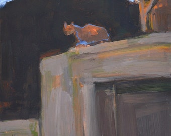 Cat on a Garage- Original Oil Painting