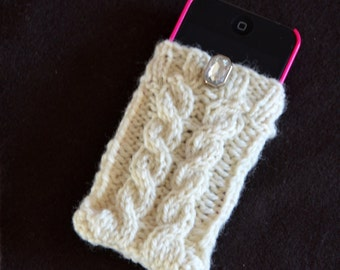 Hand knit iPod cozy, cell phone case in White, Wool