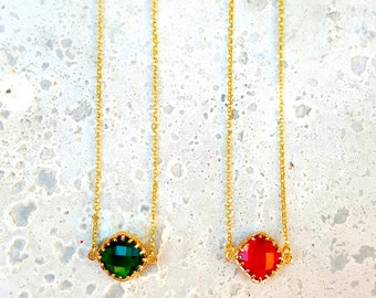 Crystal Necklace, Gold Choker, Gold Filld 14k, Red Rubin Crystal Necklace, Green Smaragd Crystal Setting, Dainty Choker, Christmas Gift