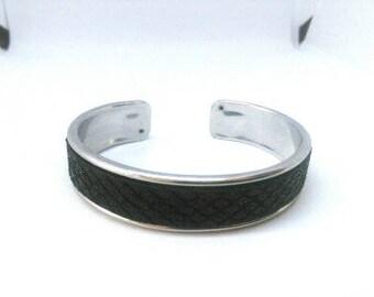 Leather covered Bangle Bracelet