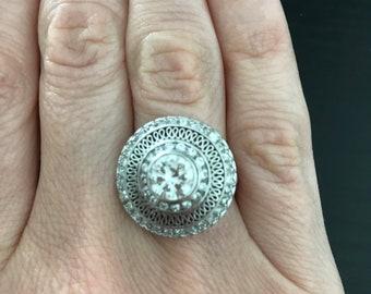 Brilliant Diamond Platinum Vintage Ring