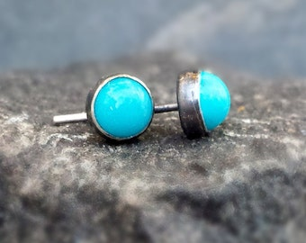 Blue Turquoise Post Earrings, Sleeping Beauty Turquoise Studs, Sterling Silver Posts, Blue Studs, Bezel Set, Oxidized Finish