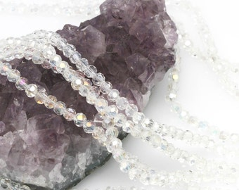 Lot of 5 strands 4mm Clear Crystal AB Chinese Glass Round Loose Spacer Beads 98 beads/strand (BH5377)