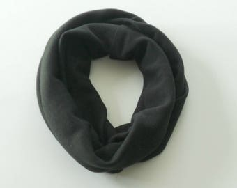 Black Toddler Infinity Scarf, Child Infinity Scarf, Kid Infinity Scarf, Loop Scarf, Tube Scarf, Circle Scarf, Drool Scarf Bib