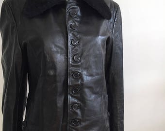 Lords handmade usa exclusively, 90s leather coat, 70s style