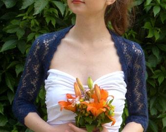 Delicate Navy Blue Bridal Bolero Shrug Wedding Bolero Openwork Bolero Shrug
