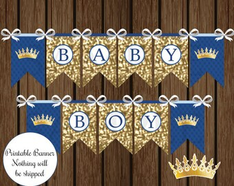Blue and Gold Prince, Prince Baby Shower, Prince Banner, Royal Prince, Instant Download, Baby Shower Banner, Shower Printable, Blue and Gold
