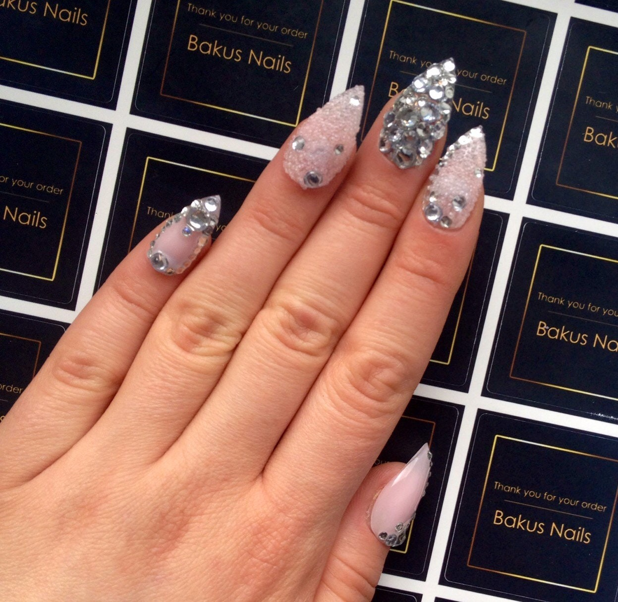 Hand Painted Press On Nails False Nails Neutral Stiletto and ...
