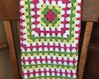Strawberry Fields Granny Square Baby Blanket