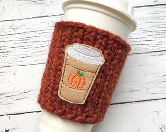 Pumpkin Spice Cozy, Chunky Coffee Cozy, Knit Coffee Cozy, Applique Coffee Cozy, Chunky Knit Cup Cozy, Chunky Knits, Reuseable Cup Cozy,