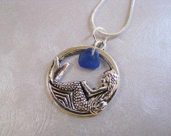 Kind-Meer Glas Anhänger - Kobaltblau - Meerjungfrau Charm - Strand-Glasschmuck