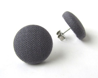 Simple grey gray earrings - solid gray stud earrings - gray fabric earrings - tiny post earrings - button earrings elegant small