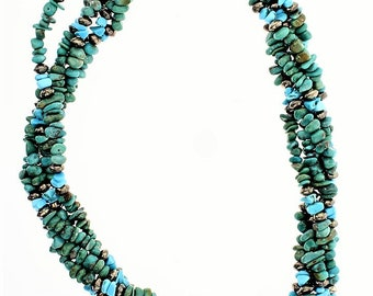 Navajo Tribe / Turquoise Multi Strand Twist Strand Necklace