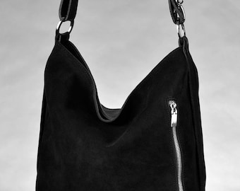 Comfortable Genuine Leather And Suede Tote Black Color