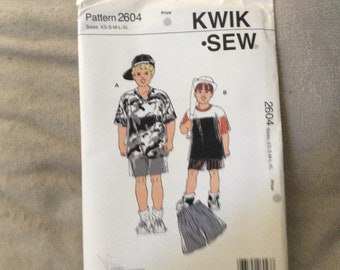 Kwik Sew pattern #2604 boys shorts and top sizes XS to XL