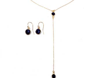 14k Gold Filled Lariat with Genuine Black Onyx, Y necklace, Drop Necklace, August Birthstone