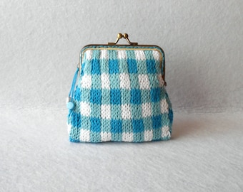 Gingham coin purse - Knitted coin purse - Metal kiss lock frame - Blue & White // Gift for her