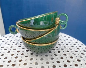 4 cups green and gold porcelain - vintage cups - 50's