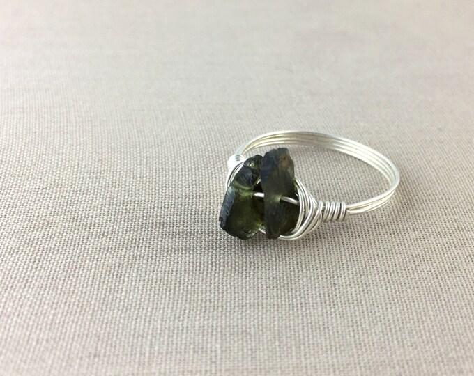 Green Tourmaline Ring // raw tourmaline ring, wire wrapped ring, raw crystal ring, raw gemstone ring, jewelry under 25, rough tourmaline