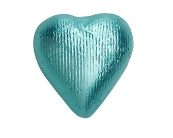Sweetworks Hearts Solid Milk Chocolate Candy - Tiffany Blue - 1 LB Bag