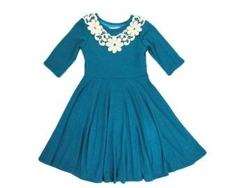 Girls Teal Twirly Dress with Ivory Lace, Girls Twirly Dresses, Girls Dresses Sizes 4/5, 6/6X, 7/8, 10/12 Ready to Ship