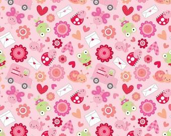 Valentine Lovebug Friends Pink from Riley Blake > C5051-PINK < Half Yard off the bolt